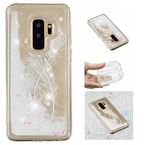 voordelige Galaxy S7 Edge Hoesjes / covers-hoesje Voor Samsung Galaxy S9 / S9 Plus / S8 Plus Stromende vloeistof / Patroon / Glitterglans Achterkant Veren / Glitterglans Zacht TPU