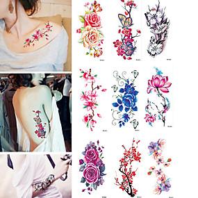 זול קעקועים זמניים-9 pcs מדבקות קעקועים קעקועים זמניים פרח עמיד במים אמנות גוף גוף / זרוע / קעקוע מדבקה