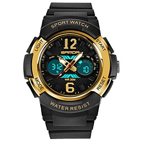 voordelige Merk Horloge-SANDA Heren Dames Sporthorloge Digitaal horloge Japans Digitaal Silicone Zwart / Wit / Rood 30 m Waterbestendig Kalender Stopwatch Analoog-Digitaal Luxe Modieus - Rood Goud Rose Wit / Goud / Maanfase