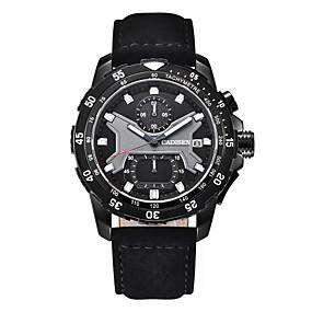 Недорогие Фирменные часы-CADISEN Муж. Спортивные часы Кварцевый Стеганная ПУ кожа Черный 30 m Календарь Хронометр Фосфоресцирующий Аналоговый Мода - Черный Черный / Белый Два года Срок службы батареи / Крупный циферблат