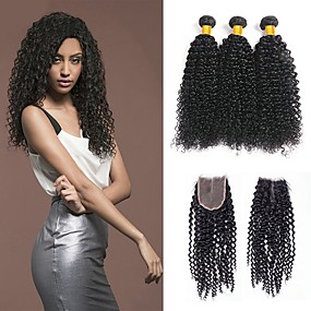 cheap Hair Extensions-3 Bundles with Closure Kinky Curly Virgin Human Hair Remy Human Hair Natural Color Hair Weaves / Hair Bulk Bundle Hair One Pack Solution 8-20 inch Natural Color Human Hair Weaves New Arrival Cool