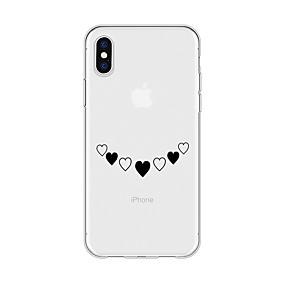 olcso iPhone tokok-Case Kompatibilitás Apple iPhone X / iPhone 8 Plus Minta Fekete tok Szív Puha TPU mert iPhone X / iPhone 8 Plus / iPhone 8