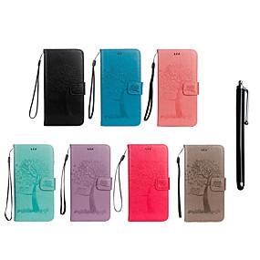 Недорогие Чехлы и кейсы для Galaxy Note 8-Кейс для Назначение SSamsung Galaxy Note 9 / Note 8 Кошелек / Бумажник для карт / со стендом Чехол Сова / дерево Твердый Кожа PU