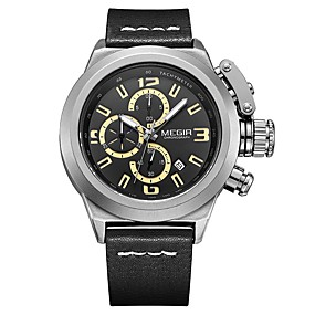 Недорогие Фирменные часы-MEGIR Муж. Спортивные часы Японский Кварцевый Натуральная кожа Черный / Коричневый 30 m Защита от влаги Календарь Повседневные часы Аналоговый На каждый день Мода - Черный Коричневый