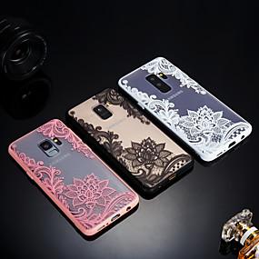 זול כיסויים לסדרת גלאקסי S-מגן עבור Samsung Galaxy S9 Plus / S9 מזוגג / שקיפות / מובלט כיסוי אחורי הדפסת תחרה קשיח אקרילי ל S9 / S9 Plus / S8 Plus