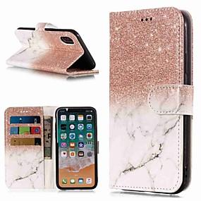 abordables Coques d'iPhone-Coque Pour Apple iPhone XR / iPhone XS Max Portefeuille / Porte Carte / Avec Support Coque Intégrale Marbre Dur faux cuir pour iPhone XS / iPhone XR / iPhone XS Max