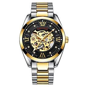 voordelige Merk Horloge-Tevise Heren Skeleton horloge mechanische horloges Japans Automatisch opwindmechanisme Roestvrij staal Zwart / Zilver 30 m Waterbestendig Hol Gegraveerd s Nachts oplichtend Analoog Luxe Modieus -