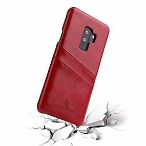Χαμηλού Κόστους Θήκες / Καλύμματα Galaxy S Series-Fierre Shann tok Για Samsung Galaxy S9 Plus / S9 Θήκη καρτών Πίσω Κάλυμμα Μονόχρωμο Σκληρή γνήσιο δέρμα για S9 / S9 Plus