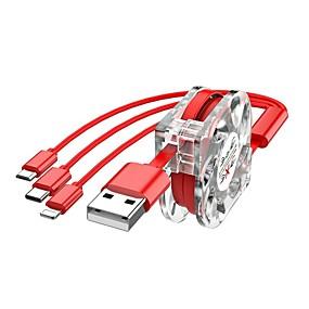 billige PC- og tablettilbehør-yongwei indtrækbar datalinje lyn / micro usb 2,0 / usb 3,1 type c / 3 i 1 oplader adapterkabel mand - han 1,0m (3ft) 10 gbps til iphone / android / type-c 2.4a hurtig opladning
