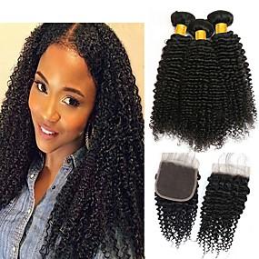 cheap Hair Extensions-3 Bundles with Closure Kinky Curly Virgin Human Hair Unprocessed Human Hair Natural Color Hair Weaves / Hair Bulk Bundle Hair One Pack Solution 8-20 inch Natural Color Human Hair Weaves New Arrival