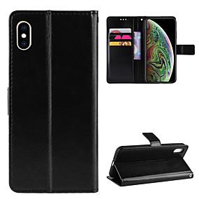 זול מגנים לאייפון-ASLING מגן עבור Apple iPhone X / iPhone XS ארנק / מחזיק כרטיסים / עם מעמד כיסוי מלא אחיד רך עור PU ל iPhone XS / iPhone X