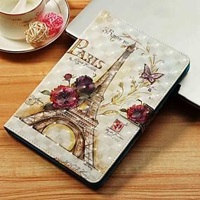 voordelige Galaxy Tab E 9.6 Hoesjes / covers-hoesje Voor Samsung Galaxy Tab S4 10.5 (2018) / Tab A2 10.5(2018) T595 T590 / Tab E 9.6 Portemonnee / Kaarthouder / met standaard Volledig hoesje Eiffeltoren Hard PU-nahka