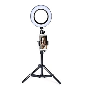 cheap Novelty Lighting-LED Ring Light Selfie Phone Holder Stick Novelty Lighting 74 Leds 3 Colors Photo Fill Light Toning Brightness Adjustable Tripod