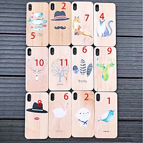 abordables Coques d'iPhone-Coque Pour Apple iPhone XS Max / iPhone 6 Relief Coque Animal / Bande dessinée Dur En bois pour iPhone XS / iPhone XR / iPhone XS Max
