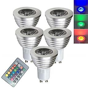 billiga Smarta LED-glödlampor-5pcs 3 W LED-spotlights Smart LED-lampa 250 lm E14 GU10 GU5.3 1 LED-pärlor SMD 5050 Smart Bimbar Fjärrstyrd RGBW 85-265 V / RoHs