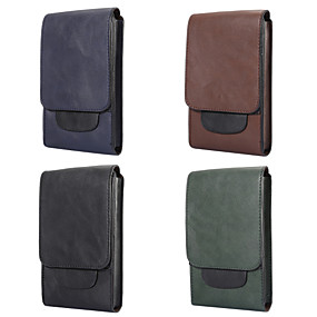 ราคาถูก เคสสำหรับ iPhone-Case สำหรับ Blackberry / Apple / Samsung Galaxy Universal Card Holder กระเป๋าสะพายเอว / Pouch Bag สีพื้น Soft หนัง PU สำหรับ Universal
