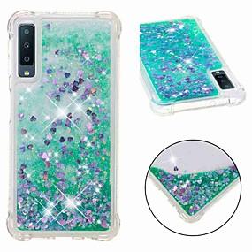 voordelige Galaxy A5(2016) Hoesjes / covers-hoesje Voor Samsung Galaxy A6 (2018) / A6+ (2018) / Galaxy A7(2018) Schokbestendig / Stromende vloeistof / Transparant Achterkant Glitterglans Zacht TPU