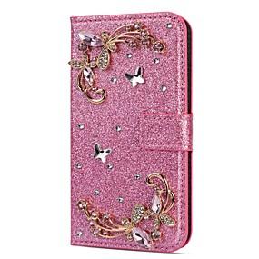 voordelige Galaxy S7 Hoesjes / covers-hoesje Voor Samsung Galaxy S9 / S9 Plus / S8 Plus Portemonnee / Kaarthouder / Strass Volledig hoesje Glitterglans / Strass / Bloem Hard PU-nahka