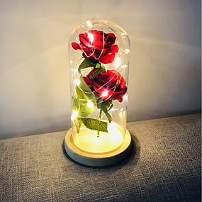 ieftine Lumini Nocturne LED-brelong a crescut acasă decorare a condus lumina de noapte perfect Valentine's day cadou de sticlă acoperă baza de lemn