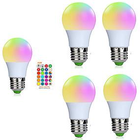 levne LED Smart žárovky-5pcs 3 W LED chytré žárovky 200-250 lm E26 / E27 1 LED korálky SMD 5050 Smart Stmívatelné Dálkové ovládání RGBW 85-265 V / RoHs / FCC