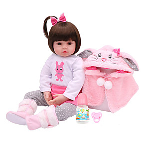 cheap Toy & Game-NPKCOLLECTION NPK DOLL Reborn Doll Girl Doll Baby Girl 18 inch Vinyl - Gift Cute Artificial Implantation Brown Eyes Kid's Toy Gift