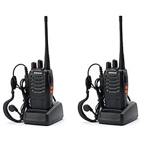 billige Daglige tilbud-2pcs baofeng bf-888s genopladelig lang rækkevidde 5w to-vejs radio walkie talkies 16-kanals håndholdt radio indbygget ledet fakkel + headset