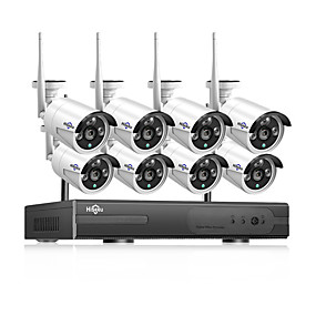 voordelige Bewaking & Beveiliging-Hiseeu poekit-8hb624 hd 8ch 4mp poe bewakingscamera kit h.265 poe ip camera outdoor waterdichte huis cctv videobewaking nvr set