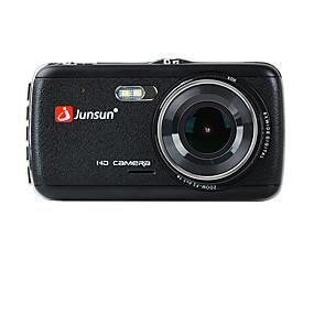 voordelige Auto DVR's-Junsun h7c 1296p hd dubbele lens auto dvr 170 graden groothoek 1/3 inch kleur cmos 4 inch ips dashcam met nachtzicht / g-sensor / bewegingsdetectie 2 infrarood leds autorecorder