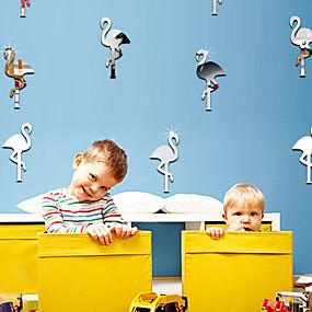 billige Hjem & Køkken-14 stk. Vægklister sæt simple flamingoformede spejl klistermærker