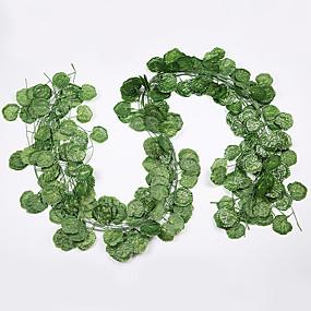 preiswerte Künstliche Blumen-12 stücke blume reben 72 stücke blatt 1 stück 2 mt dekoration künstliche efeu blatt girlande pflanze reben gefälschte blatt blume reptil grün efeu kranz