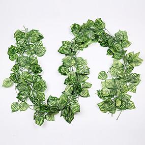 ieftine Casă & Grădină-12pcs viță de flori 72pcs frunze 1 bucată 2m decoratiuni interioare artificiale frunze de iedera garland plantă viță de vie frunze de flori reptile verde iederă coroană