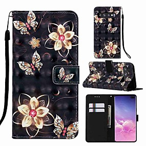 voordelige Galaxy S7 Edge Hoesjes / covers-case voor samsung galaxy s8 plus / s9 plus patroon / flip / met standaard full body cases cartoon / vlinder hard pu leer voor galaxy s10 / galaxy s10 plus / galaxy s10 e