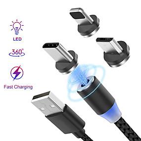 olcso Szűrés mobiltelefon modell szerint-Világítás Kábel 1,0 m (3Ft) Fonott / Mágneses / LED Műanyag / Nem szőtt / Foszforeszkáló USB kábeladapter Kompatibilitás iPad / iPhone