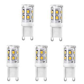 ieftine Becuri LED Corn-5pcs 2w g9 becuri de lumină porumb ceramică 220v 15 leds smd 2835 înlocuiți 25w lumină incandescentă alb alb cald pentru lustru de cristal lumina