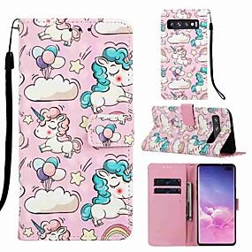 voordelige Galaxy S7 Hoesjes / covers-hoesje voor Samsung Galaxy S8 plus / s9 plus patroon / flip / met standaard camerahoes dier / cartoon hard pu leer voor galaxy s10 / galaxy s10 plus / Galaxy S10 e