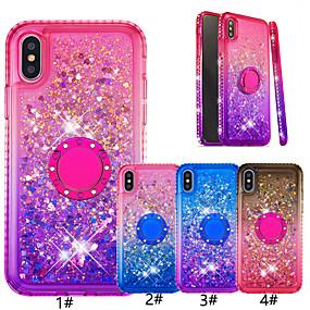 abordables Coques d'iPhone-Coque pour iphone xr / iphone xs max brillant paillettes / porte-bague couverture arrière dégradé de couleur doux tpu pour iphone 6/6 plus / 6s / 6s plus / 7/7 plus / 8/8 plus / x / xs