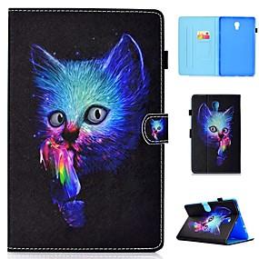 voordelige Galaxy Tab E 9.6 Hoesjes / covers-hoesje Voor Samsung Galaxy Tab 4 10.1 / Tab S4 10.5 (2018) / Tab A2 10.5(2018) T595 T590 Kaarthouder / Schokbestendig / met standaard Volledig hoesje Kat Hard PU-nahka