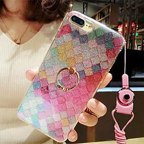 levne iPhone pouzdra-Carcasă Pro Apple iPhone 8 / iPhone 7 Držák na prsteny / Třpytivý Zadní kryt Třpytivý / Zářící barvy Měkké TPU pro iPhone 8 / iPhone 7