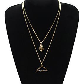 billige Lagvise halskjeder-Dame Halskjede lagdelte Hals Chrome Gull Sølv 56 cm Halskjeder Smykker 1pc Til Daglig Skole Gate Ferie Festival