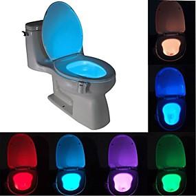 ieftine Lumini Nocturne LED-lungime 1 buc. senzor de mișcare umană cu 8 culori pir toaletă de noapte