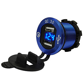 voordelige Motor- & ATV-onderdelen-auto motorfiets omgebouwd usb-oplader mobiele telefoon tablet qc3.0 metalen snellaadmodellenblauw aluminium schaal blauw voltmeter qc3.0