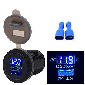 voordelige Autoladers-12 / 24v auto motorboot universele mobiele telefoon oplader voltmeter 2 in 1 usb telefoon oplader