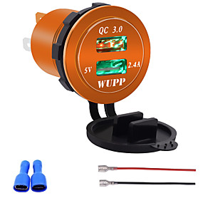 voordelige Autoladers-12V-24V QC3.0 motorfiets Dual USB-aansluiting lader stroomadapteruitgang voor automodellenblauwgroen licht