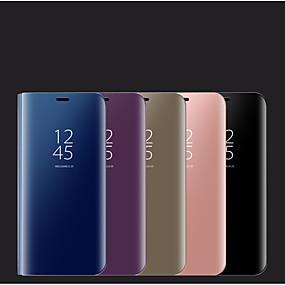 voordelige Galaxy S7 Hoesjes / covers-hoesje Voor Samsung Galaxy S9 / S9 Plus / S8 Plus met standaard / Spiegel Volledig hoesje Effen PU-nahka / PC