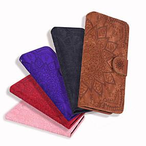 voordelige Galaxy J3 Hoesjes / covers-hoesje Voor Samsung Galaxy J8 (2018) / J7 (2017) / J7 (2016) Kaarthouder / Flip / Reliëfopdruk Volledig hoesje Effen / Bloem PU-nahka