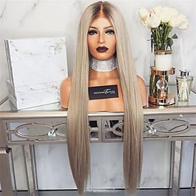 cheap Wigs & Hair Pieces-Synthetic Wig kinky Straight Style Middle Part Machine Made Wig Silver Synthetic Hair 26 inch Women's Women Silver Wig Long Natural Wigs