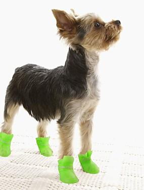 رخيصةأون مستلزمات الحيوانات الأليفة-قط كلب أحذية و جزم أحذية جيلي المضادة للانزلاق وحيد مقاومة الماء سادة أسود أرجواني أصفر أزرق زهري للحيوانات الأليفة