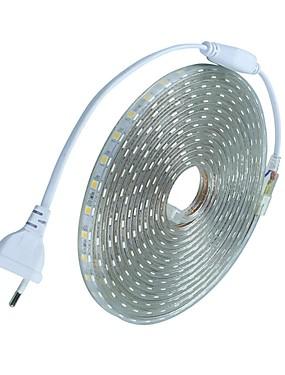 ราคาถูก ไฟเส้น LED-10 เมตร / 1 ชิ้น 220 โวลต์ 5050 led เทปที่มีความยืดหยุ่นเชือกแถบแสงคริสต์มาสกลางแจ้งกันน้ำสวนแสงกลางแจ้งสหภาพยุโรปปลั๊ก