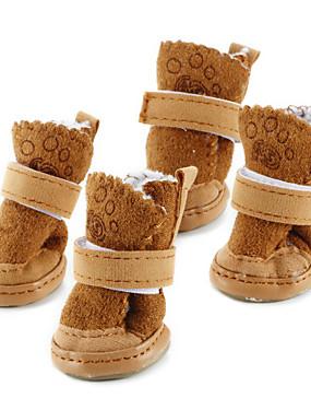 رخيصةأون مستلزمات الحيوانات الأليفة-كلب أحذية و جزم جزم الثلج الدفء موضة صلب بني زهري للحيوانات الأليفة