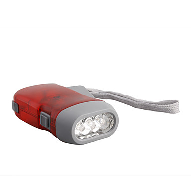3-LED Dynamo Battery-free Flashlight (Red)